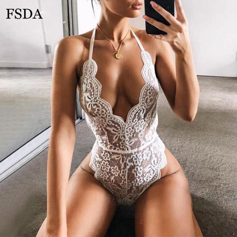 FSDA mit V-Ausschnitt Sommer-Spitze Bodysuit Weiß Sexy Spaghetti-Bügel-Frauen-Körper-Top Schwarz-Partei sieht Obwohl Lady Backless Bodysuits