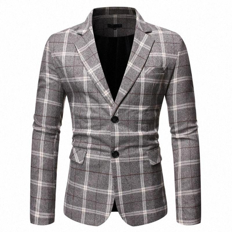 Erkek Giydirme Blazers Yeni Şık Rahat Erkek Takım Elbise Ekose İş Düğün Suit Dar Kesim HmKR # Tops