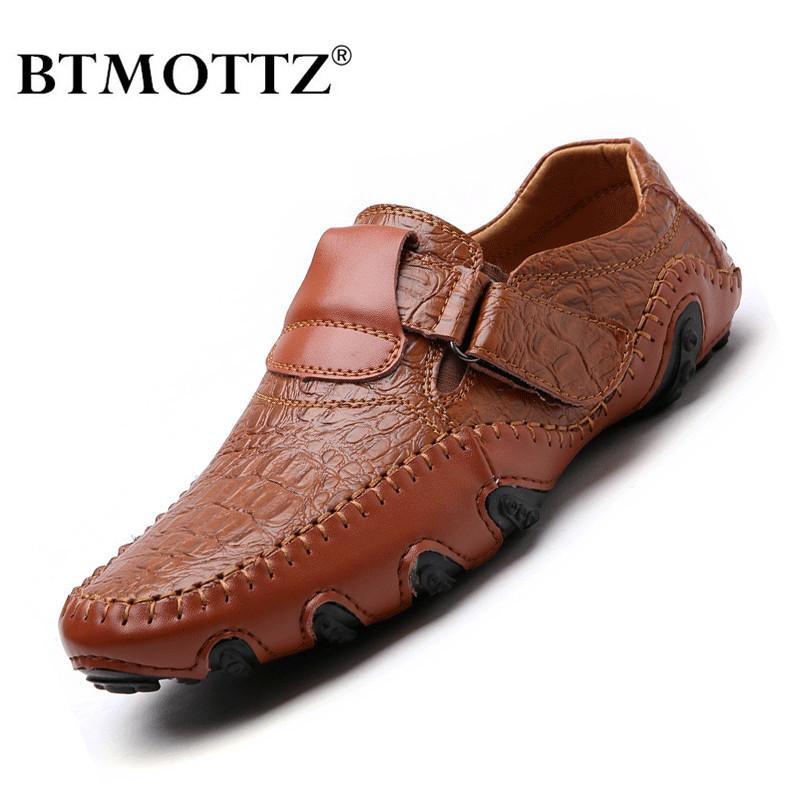 Handmade Genuine Leather Mens Shoes Casual Brand Italian Men Loafers Fashion Breathable Driving Shoes Slip on Moccasins BTMOTTZ CX200729