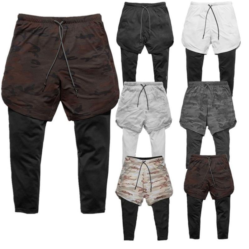 Бегуны Sweatpants New Men 2 в 1 Узкие штаны Поножи двухслойный Спортивная Мужской Gym Фитнес Бег Quick Dry Track Pants