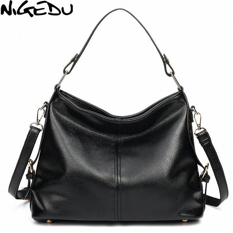 NIGEDU Frauenhandtasche große Qualität PU-Leder weibliche Schultertasche groß mit Quaste Damen Totes Lässige Umhängetasche Tasche rot fK4S #