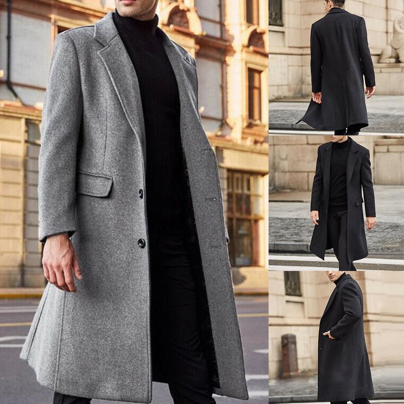 2020 New Men Winter Solid Color Jacket Fashion Single Breasted Casual Long Coat Men Clothes Lapel Windbreaker