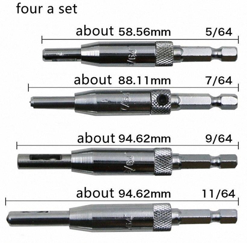 5/64, 7 / 64,9 / 64,11 / 64 Vier ein Set gute Qualität High-Speed-Stahl HSS Zentrierdeckel Scharnier Holzbohrer Set Tür Kabinett S1vH #