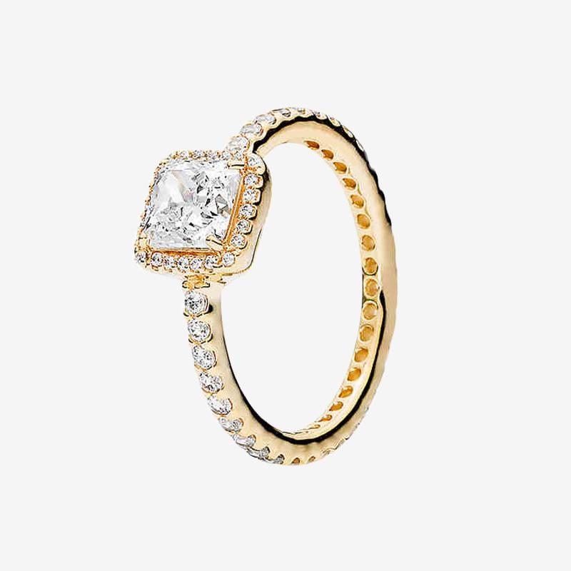 Bague de mariage en plaqué or jaune pour femmes CZ Diamond Engagement Bijoux pour Pandora Sterling Silver Sparkle Anneaux avec boîte originale