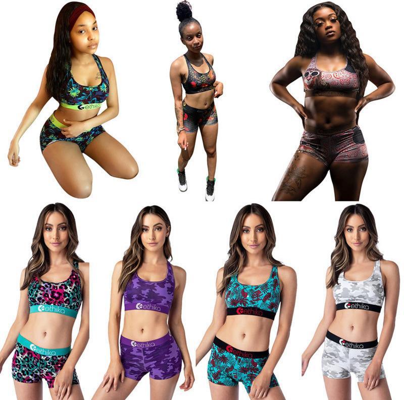 Summer Ethika Women Designer Swimdress Crop Top Vest Swim Shorts Trunks Boxers 2 Piece Set Tracksuit Patchwork Shark Camo Bathing Suit C33-2