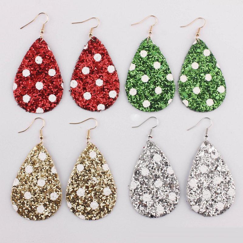 Weihnachten Pailletten Glitzer-Leder Ohrringe Kollektion für Frauen White Dot Teardrop-Leder-Statement Ohrringe Ferien Schmuck