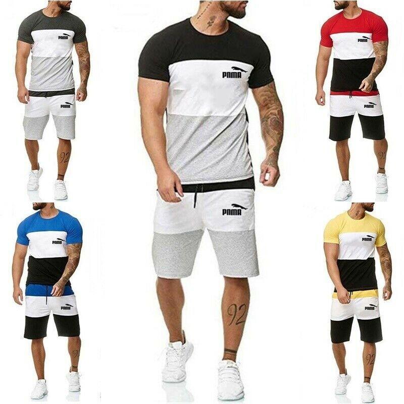 5 색 M-6XL 2 개 남성 반팔 T 셔츠 반바지 운동복 세트 체육관 조깅 스포츠 정장 62382243582692