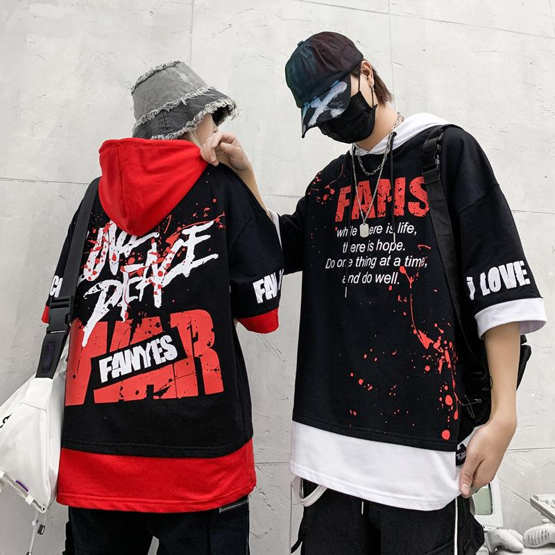 Grafiti harfler öğrenci gelgit marka erkek hip-hop hip-hop yarım kollu hoodies erkek kapüşonlu gevşek Harajuku kapüşon hoodies
