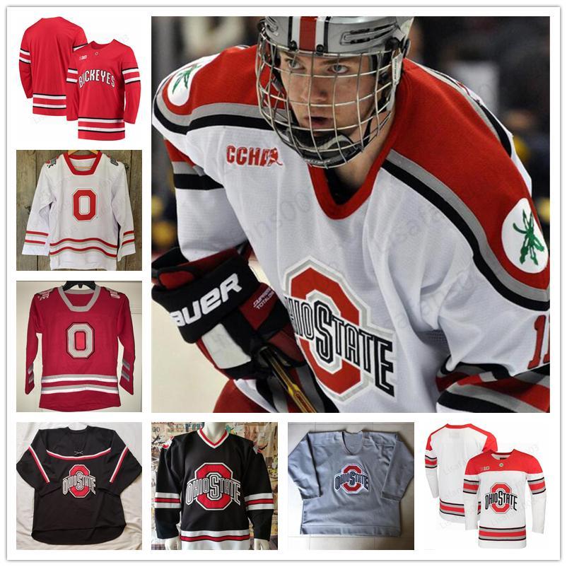 Пользовательского штат Огайо Buckeyes Hockey сшитого Джерси Big Ten мужской женщин молодость Любого номер Название Мэйсона Jobst DAKOTA JOSHUA МИГЕЛЬ Фидлер