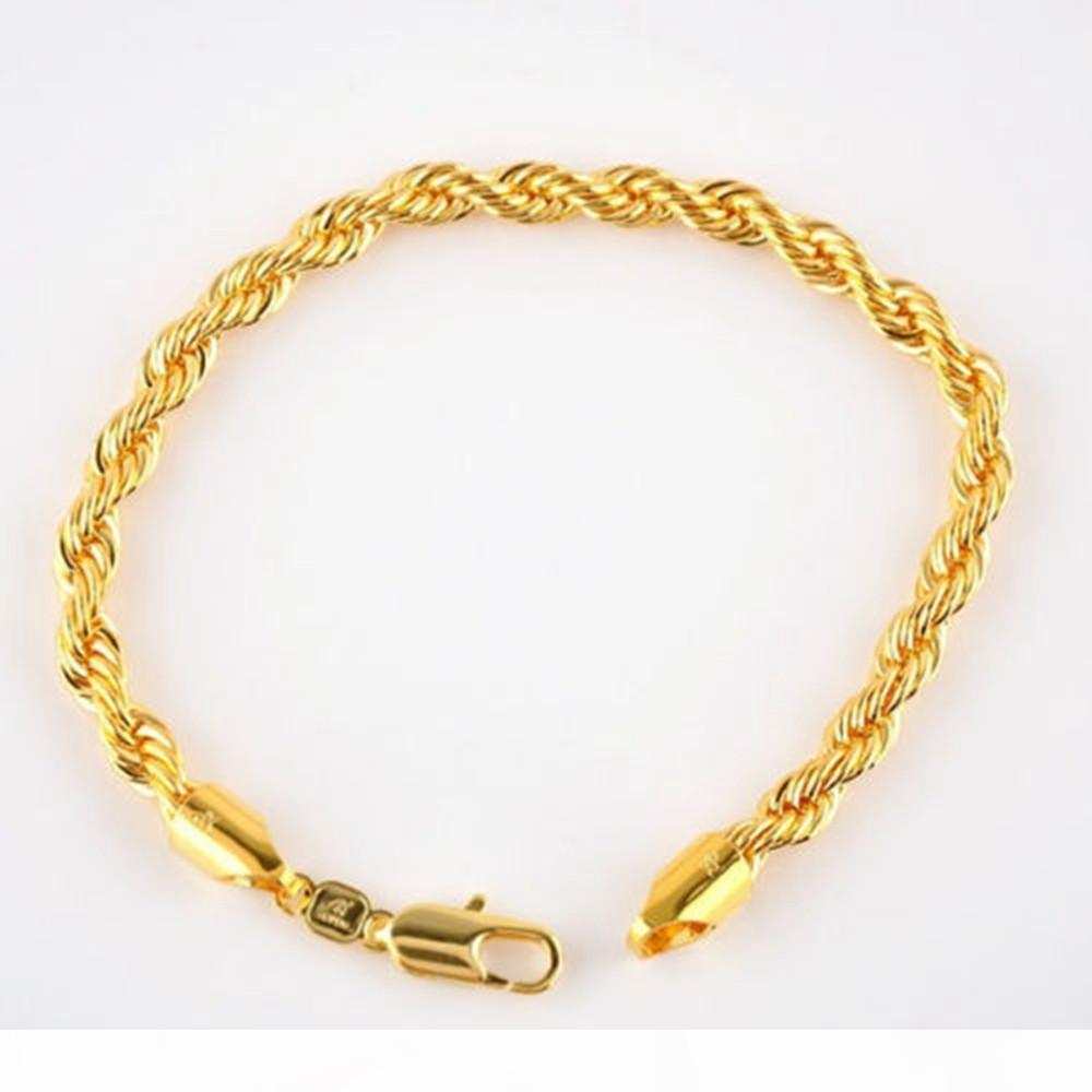 24 K Real Yellow Solid Gold Filled браслет веревочки 5мм, 21.5cm 8,4 дюйма Длинные, Мужские события Ladies Продажа