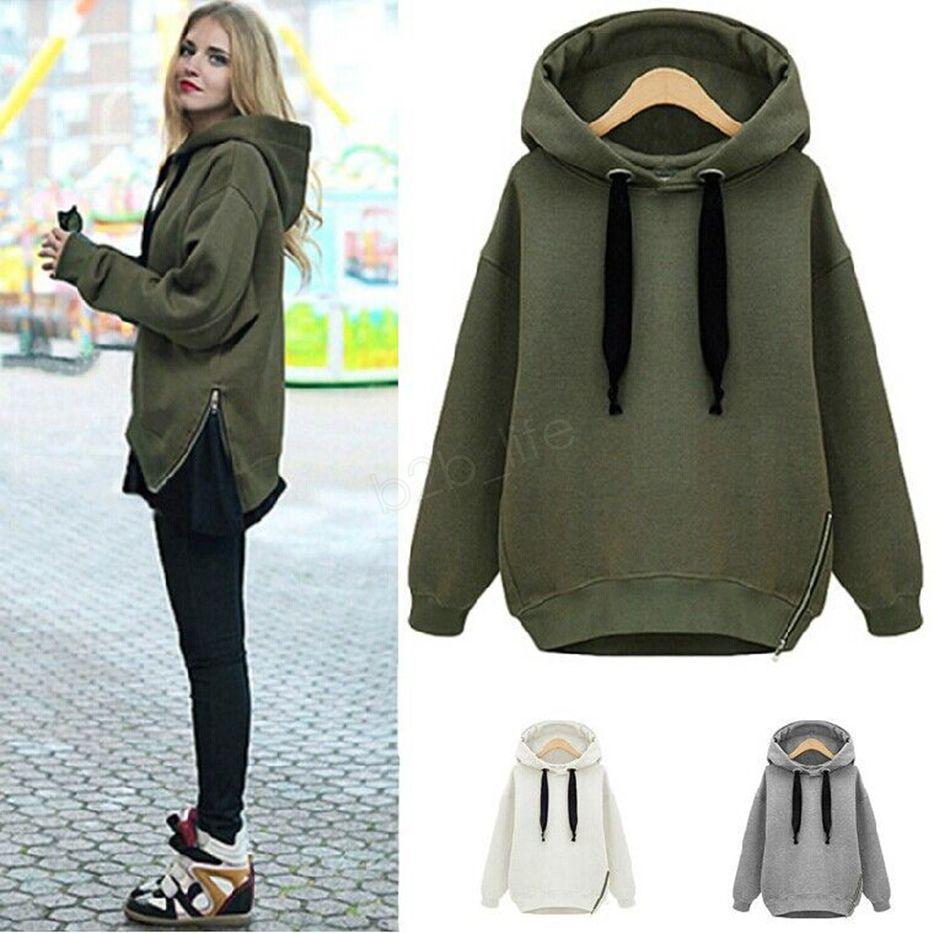 Hoodies morno mulheres Sweatshirts Green Side Zipper com capuz manga comprida Plain moletom alta qualidade