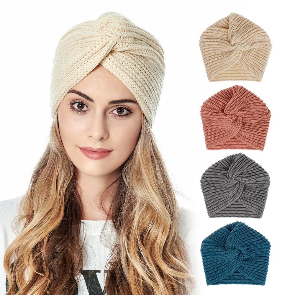 S1591 خريف وشتاء المرأة قبعة العمائم بيني كاب سيدة محبوك قبعة دافئة كاب الصليب عقدة حك القبعات