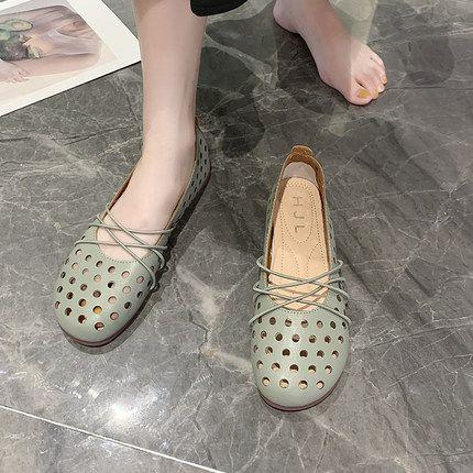 zapatos de túnel de viento de hadas 2020 nuevo verano hueca versión coreana de los guisantes zapatos planos del pie bajo de la boca salvaje