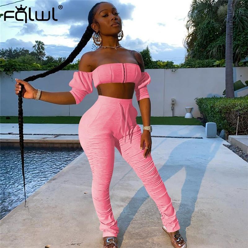Robe de deux pièces FQLWL Summer 2 Set Femmes Sexy Club Tenue rose Rose Top Top et Pantalon empilés Leggings Ensembles de jumelage 2021