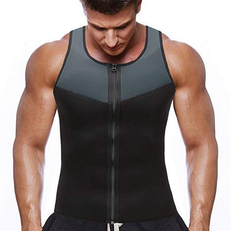 2020 새로운 T 셔츠 남성 패션 체육관 네오프렌 사우나 조끼 핫 허리 바디 스컬 프팅 슬리밍 정장 바디 스컬 프팅 지퍼 조끼 땀