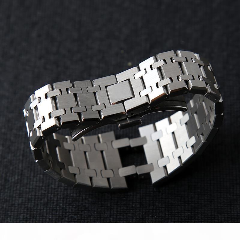 Top cinturino 21 millimetri 26mm delle donne degli uomini in acciaio inox completa il cinturino braccialetto per AP Royal Oak fibbia pieghevole con incisione T200113