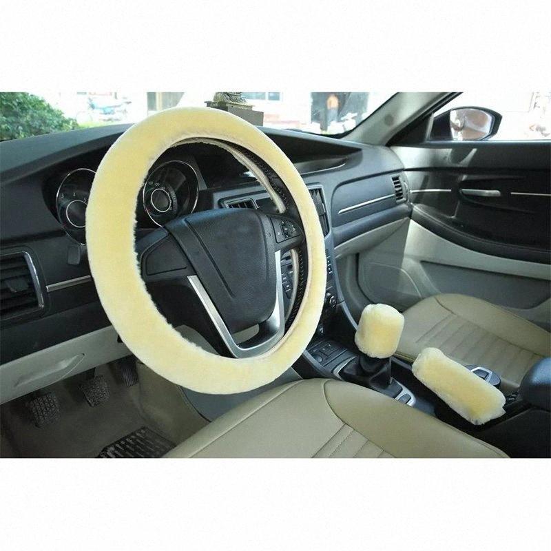 Haute qualité solide sans bague intérieure Housses de volant de voiture en peluche souple Couvre volant voiture Equipement intérieur LIKB #