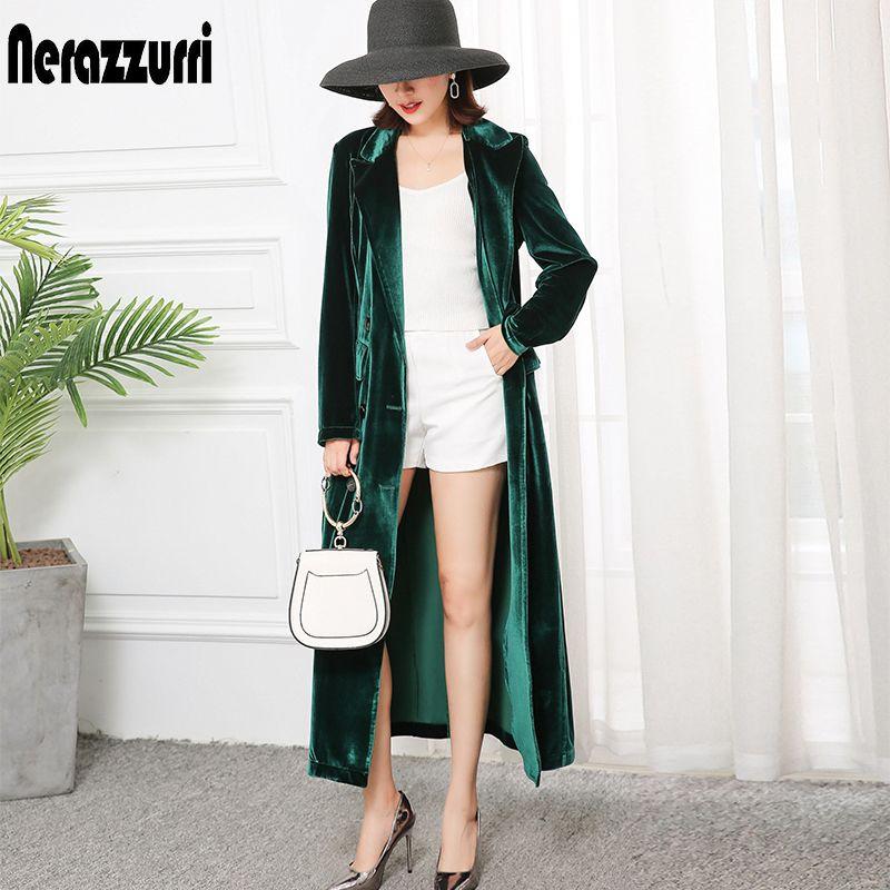 Nerazzurri gabardina de alta calidad para las mujeres caen 2.019 solapa máxima tamaño más largo abrigo de terciopelo estilo británico chaqueta 5XL 6XL CX200728