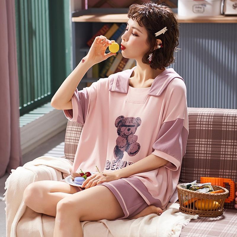 2020 новые женской пуловер дома пижамы принцессы стиль сладких пижамы пуловеров рыхлой короткий рукав женский дамский костюм свободный дом