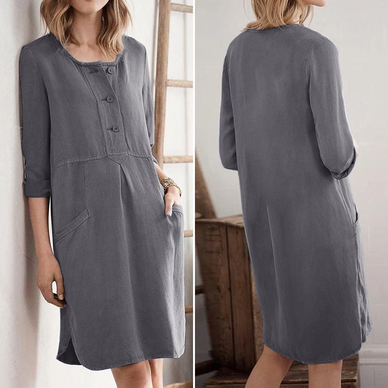 Women O Neck Short Sleeve Dress Fashion Summer Sundress VONDA Solid Cotton Linen Dresses Vestido Casual Baggy Dresses Robe S-5XL