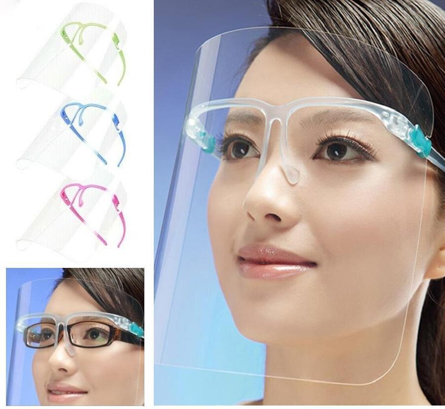 EEUU Stock envío 2020 protector protector de la cara cubierta de protección de plástico máscara de aislamiento Clear Vision anti del aceite Splash Polvo