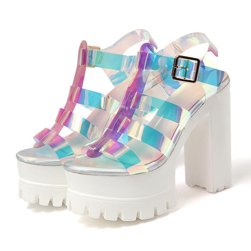Женские сандалии Супер Высокий каблук Толстый каблук Dazzle Цвет Matching Средний Top мода простой разносторонняя личность европейский и американский стиль