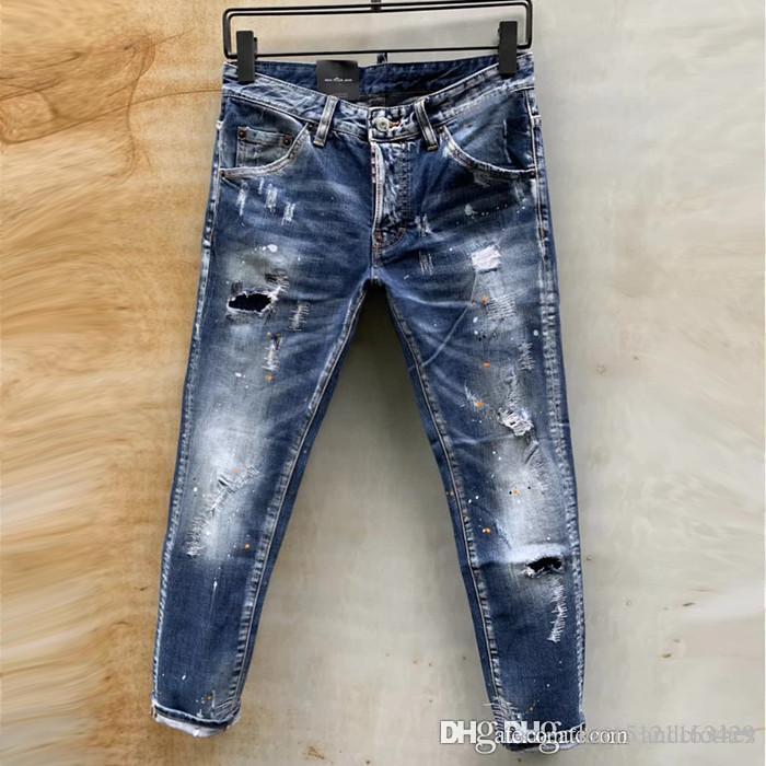 2019 узкие джинсы роскошь мотоциклисты Тонкий мыть Tide качество бренда DSQUARE джинсовой моды дизайнер хип-хоп мужские джинсы