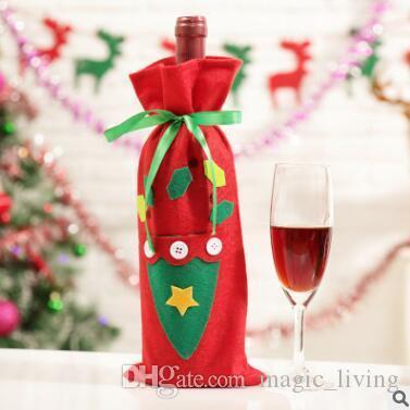 Санта-Клаус Подарочные сумки Новогодние украшения Красный бутылки вина Обложка мешки Xmas Санта шампанское вино мешок подарка Xmas 30 * 15CM DHL свободный 221