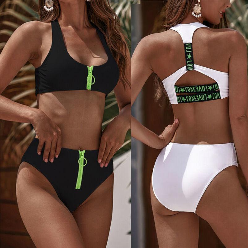 Женская двухкусочный Push Up проложенный Zip бикини Set Холтер высокой талией Купальники новые бикини Set Отделить женский купальник Бикини-2020