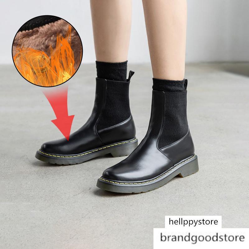 Plus Size 34-43 New Warm Snow Frauen Qualitäts-echtes Leder-Knöchel Martin Stiefel Frauenwinterschuhe Botas