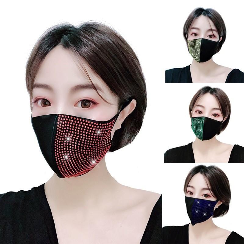 Máscara de duas cores emenda Rosto Anti poeira Proteção Moda Boca Respirador respirável reutilizável Mascarilla Rhinestone cristal Menina 6 91jy B2