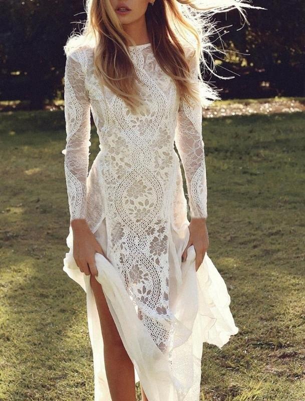 Robe Ceremonie Femme sexy delle donne Backless manica lunga maglia del merletto di chiffon a mosaico del pavimento bianco di lunghezza abito da sposa per le donne Rn72 #
