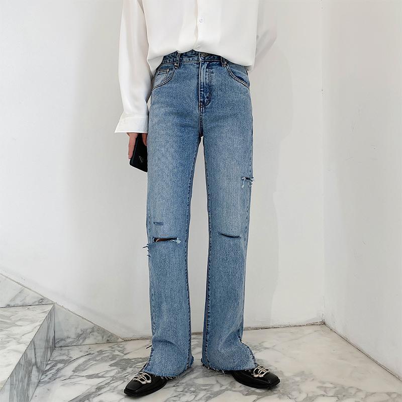 Hombres agujero del verano de la manera derecho largos ocasionales Jeans Hombre Mujer Unisex Japón Corea Streetwear Vintage Denim de los pantalones a medio