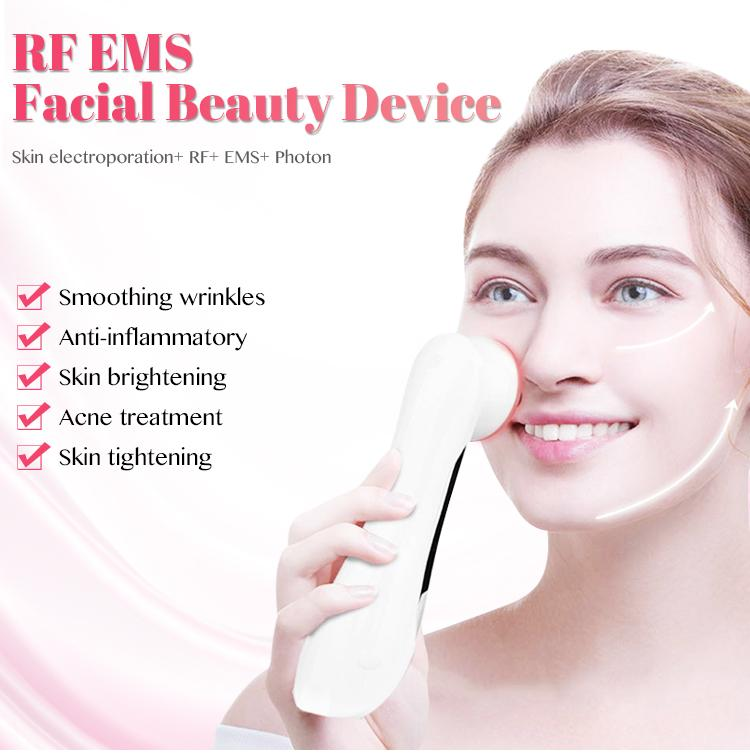 Electroporation Mesotherapy LED Photon Light Therapy RF EMS Skin Rejuvenation Face Lifting Tighten Massage Beauty Machine