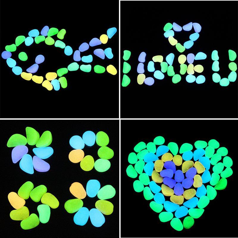 100pcs/bag Glow In The Dark Luminous Pebbles Stones For aquarium Wedding Romantic Evening Festive Events Garden Decorations Crafts toys B1