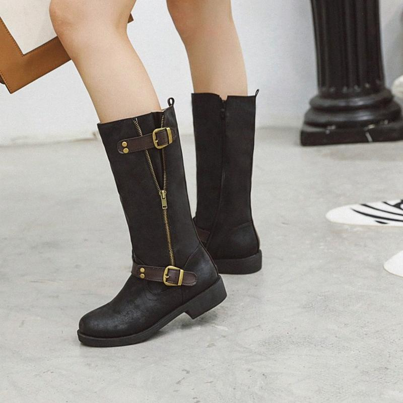 Womens Boots Mid Calf Boots Women Round Toe Thick Heels Spring Autumn  Winter Fashion Ladies Black Brown Shoes Long Boot D 52 Ankle Boo 9MUy# Ski Boots  Boots No 7 From Zarrd,