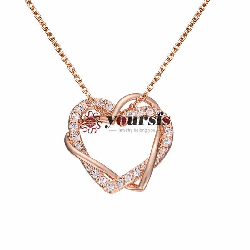 Vosfs Fashion Lady Gold Plated 18k Plein Diamond Collier d'amour Pendentif Anniversaire Unique Design Anniversaire cadeau d'anniversaire
