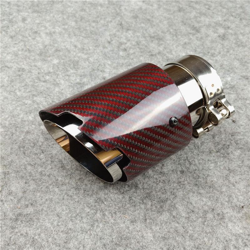 Nuevo estilo de fibra de carbono + plata acero inoxidable universal de escape Puntas de escape Sistema extremo de la tubería + Red Carbon Car 1pcs