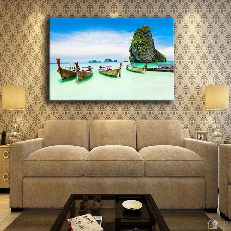 Home Decor Prints Painting 1 Panel Sea Coast Tropical Paradise Beach Ocean Island Boat Pictures Bedroom Canvas Poster Wall Art