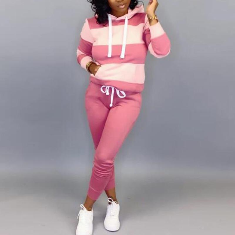 Женщины Вскользь 2 шт Наборы Шитье Цвет длинным рукавом Толстовки Узкие брюки Спортивные костюмы Причинная Wild Sweatsuit 2020 Новая осень