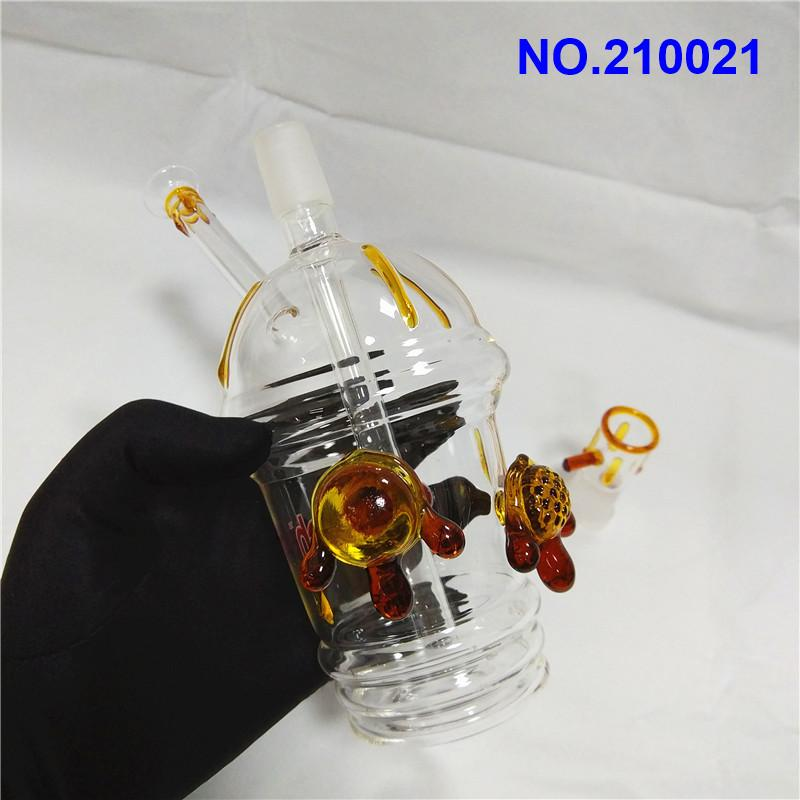 Tortuga Che-ech cristal Bongs taza de miel con aceite Rigs 18mm Mujer recipientes de vidrio uu