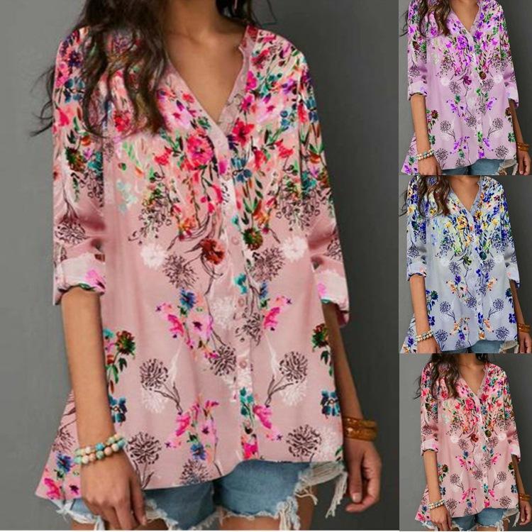 Femmes Vintage Floral V-cou T-shirts Femme Automne en vrac manches longues Taille Plus T-shirts femmes haut Fahshion Hauts Bouton
