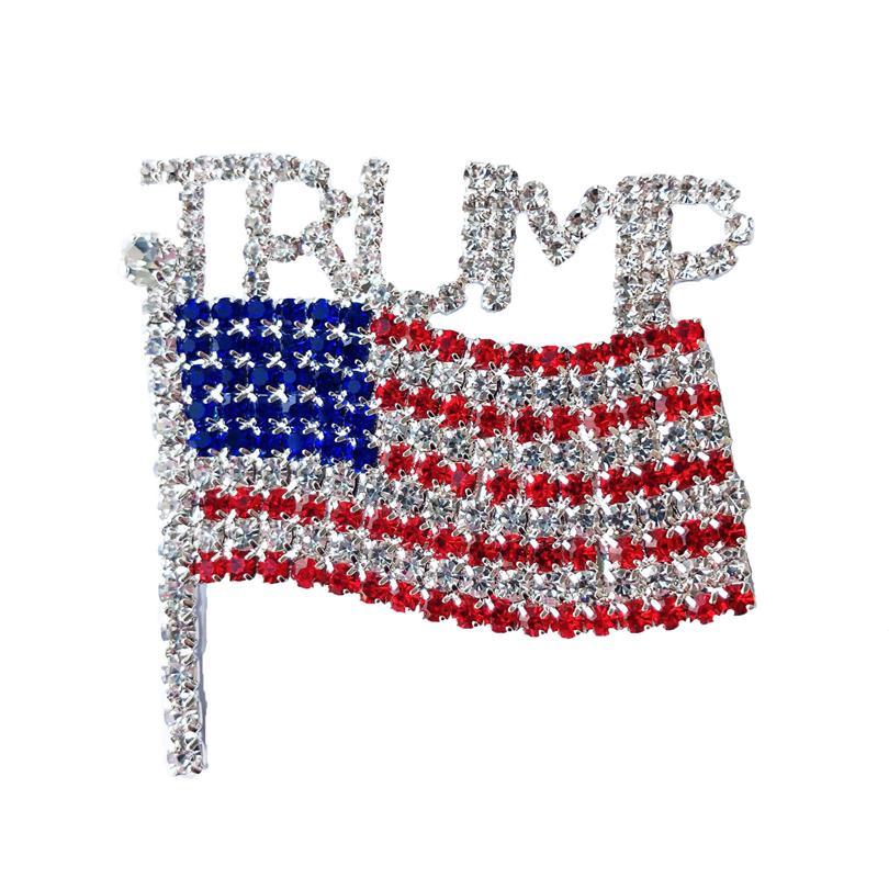 Trump Broş Pin Elmas Bayrak Broş Yapay elmas Harf Trump Broş Kristal Rozet Coat Elbise iğneler Giyim Moda Takı GGA3593