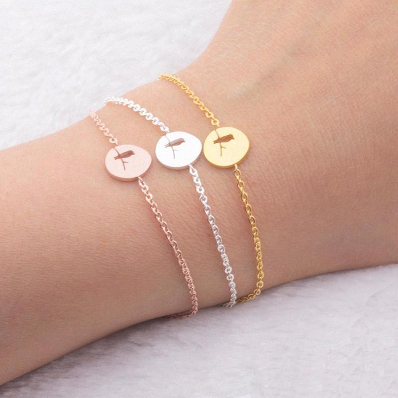2020 2020 Best Friends Gift Edelstahl Brid auf dem Zweig Statement-Armband für Frauen Boho Schmuck Silber Farbe Pulseras Mujer cxqE #