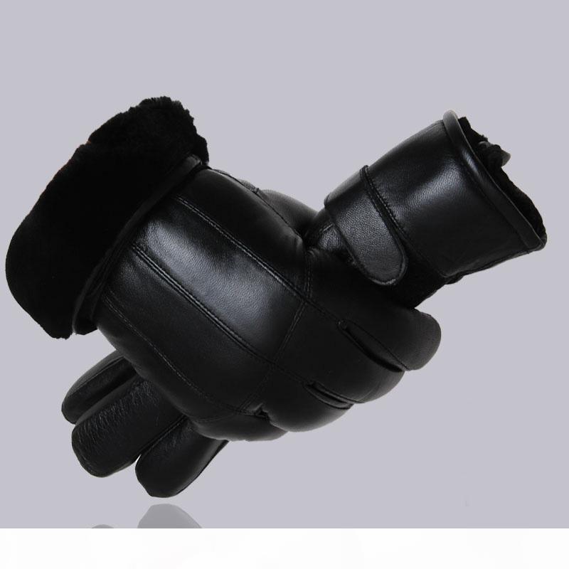 O MPPM caliente de la venta de los hombres de piel de oveja guantes de cuero genuino caliente de guantes para los hombres de invierno al aire libre espesamiento de la piel Guantes Patchwork térmica