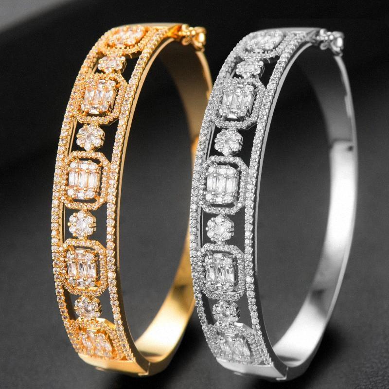 GODKI Moda istiflenebilir Bileklik Manşet İçin Kadınlar Düğün Tam Kübik Zirkon Kristal cz Dubai Bilezik Parti Takı 2020 qFDD #