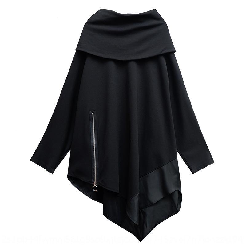 CHPQH Dark 2019 Otoño Nuevo Suéter Pila Falda Suéter Pullado Suéter Peligro Personalizado Manga Larga Mid-Longitud Falda De Cuello Irregular