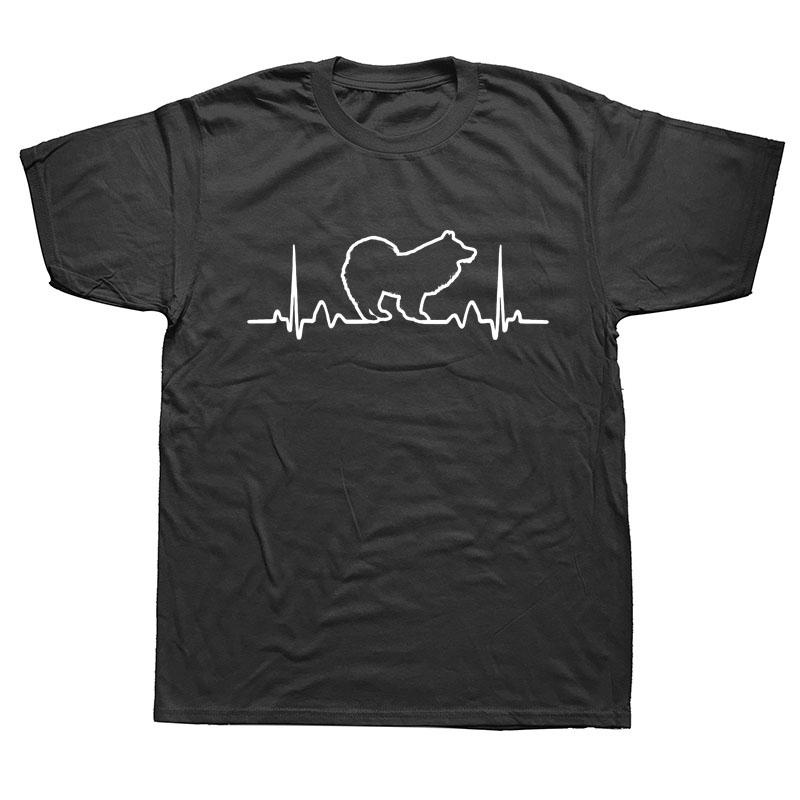 Divertida del perro del samoyedo del latido del corazón T Shirts Gráfico verano de los hombres de algodón de Harajuku más el tamaño del cuello de O Streetwear Hip Hop camiseta