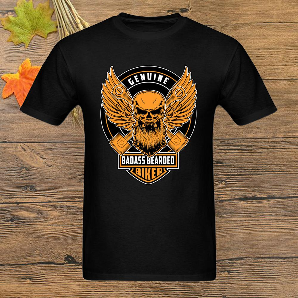 T-shirt Véritable Badass Beareded Biker T-shirt des hommes T-shirt hip-hop Black Summer Tops Vêtements T-shirts drôle Vantage Plus Size