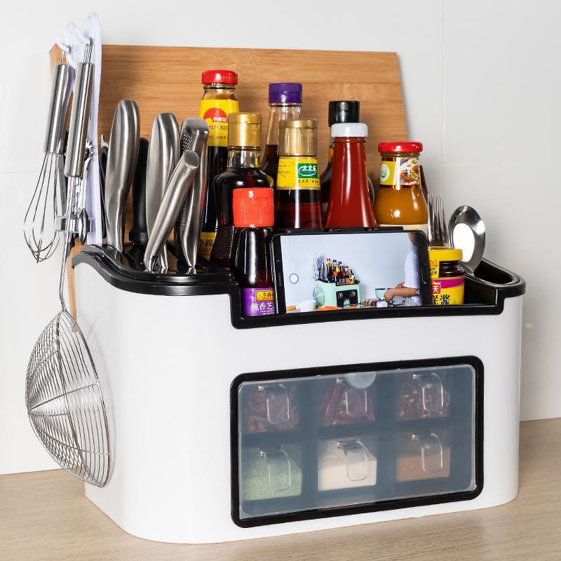Stagionatura Box condimento Rack Cucina salsa di soia bagagli Rack Storage Box Aceto bottiglia lama multifunzionale Salt Shaker